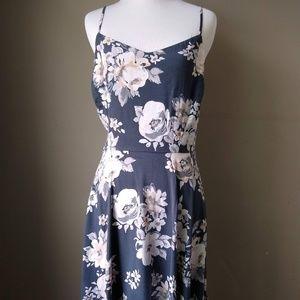 Old Navy Spaghetti Strap Floral Navy Blue Dress L